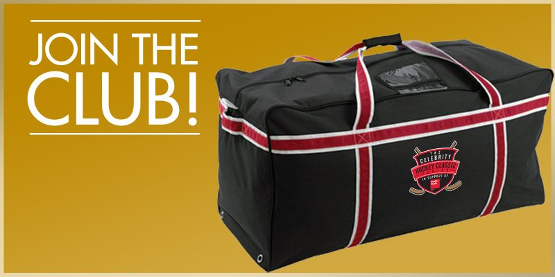 Join the Club - A black, red and white Clebrity Hcokey Classics hockey bag.