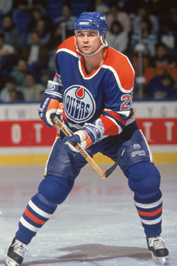 Craig Muni playing for the Edmonton Oilers