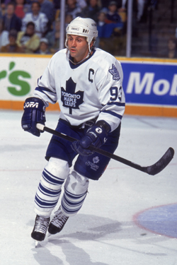 Doug Gilmour playing for the Toronto Maple Leafs