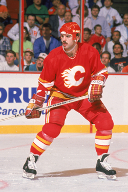 Ric Nattress playing for the Calgary Flames