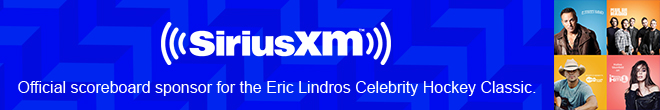 SiriusXM - Official scoreboard sponsor of the Erix Lindros Celebrity Hockey Classic.