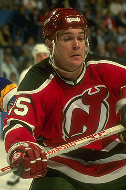 Troy Crowder playing for the Devils
