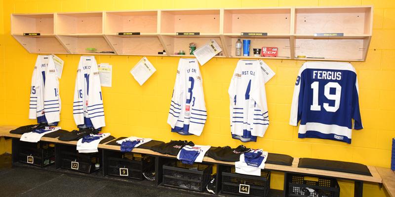 A dressing room inside RIM Park Arena